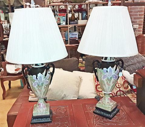 Pair Modern Iris Design Porcelain Table Lamps,