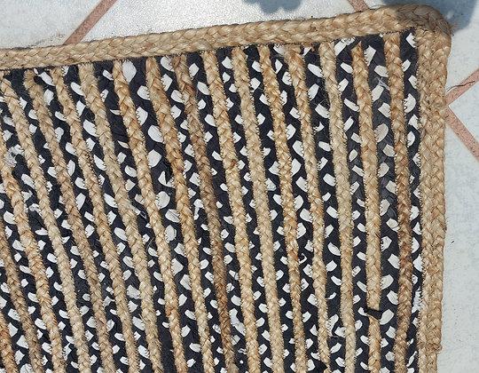 """Modern  Hand Woven Sisal and 'Rag"""" Rug,  110"""" by 94"""""""