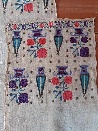 Ottoman-embroidery-19th.c- Turkish-towel-silk-linen
