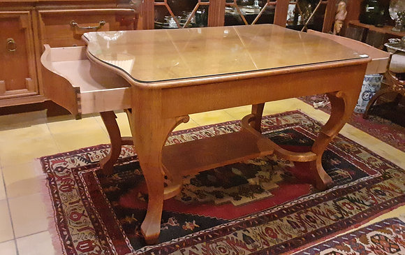 Oak Library Table, Glass Top, Antique Early 1900's -50% OFF