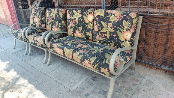 3 Pc. Patio Set, Metal Frame Sofa & 2 Chairs