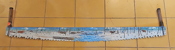 5' Long Antique Tree Saw, Painted in Snowy New England Scene