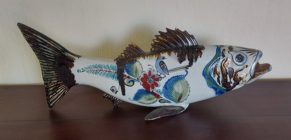 """Ken Edwards Fish Figure, Repaired Fin,  23"""" long, Signed"""