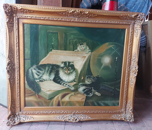 """Giclee Painting """"Good Companions"""",  Gold Frame. Good Condition"""