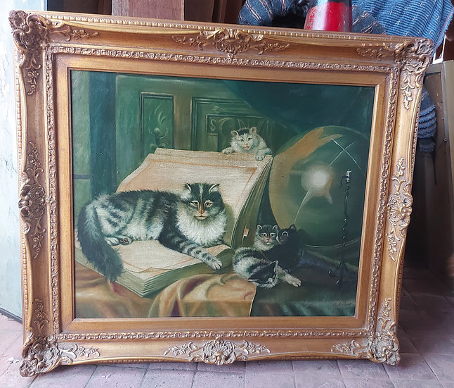 "Giclee Painting ""Good Companions"",  Gold Frame. Good Condition"