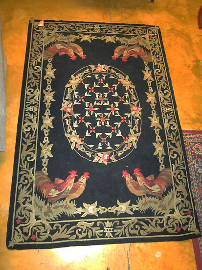 Hooked-Rug-China-Hens-Roosters
