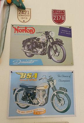 Vintage Norton/BSA Motorcycle Ads, Metal Reproductions