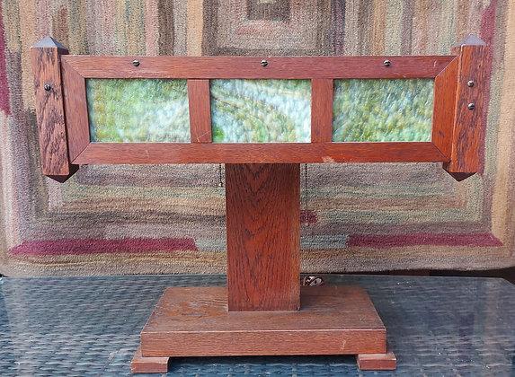 Arts-&-Crafts-Desk-Lamp-Oak-w/Slag-Glass-Shade