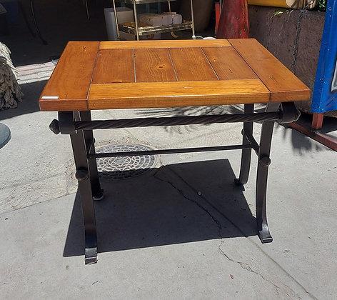 Natural Wood Top Lamp Table w/Iron Base
