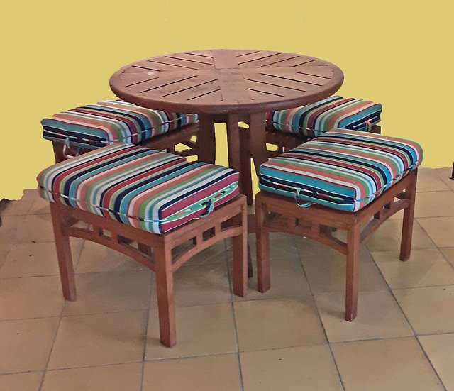 Teak Patio Table and 4 Stools