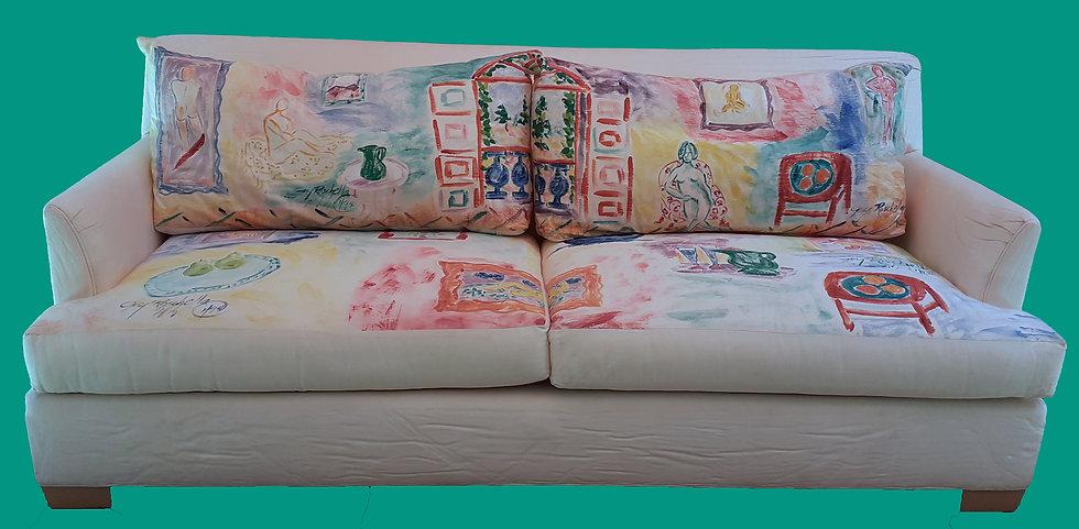 Hand Painted Bernhardt Sofa by Guy Roschella