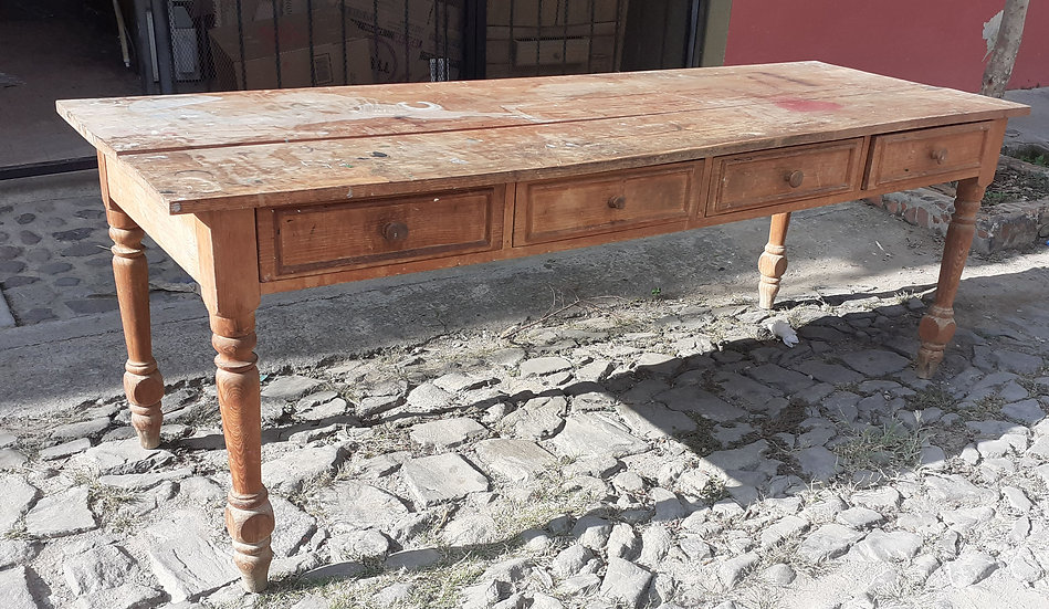 "Rustic Mexican Work Table, 82"" long"