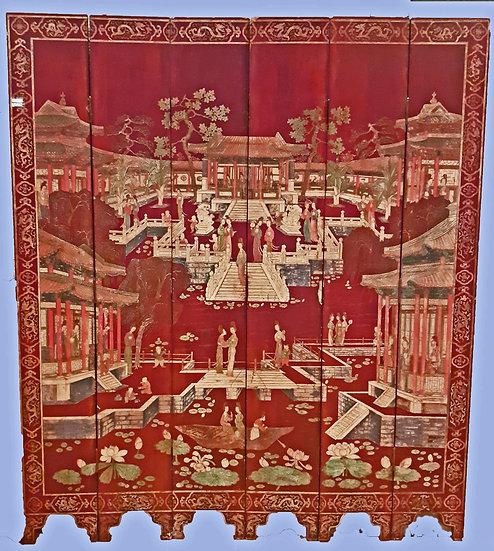 Chinese Coromandel Screen, mid 19th C.   6 panels