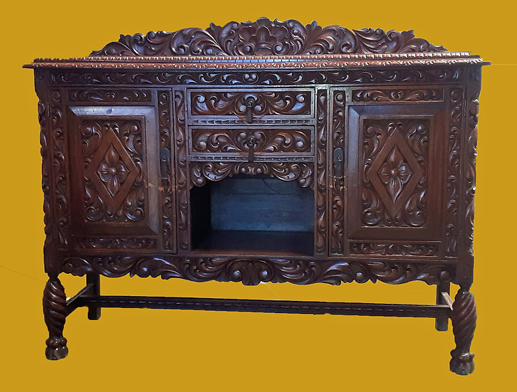 Mexican Carved Mahogany Sideboard