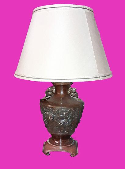 Chinese Bronze Urn Mounted Lamp