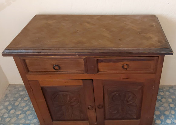 """Rustic Mexican Cabinet or Console,  41"""" wide, Parquet Top"""