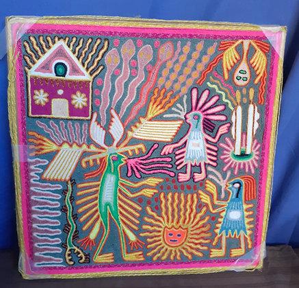 Huichol Yarn Painting by Modesto Rivera Lemus