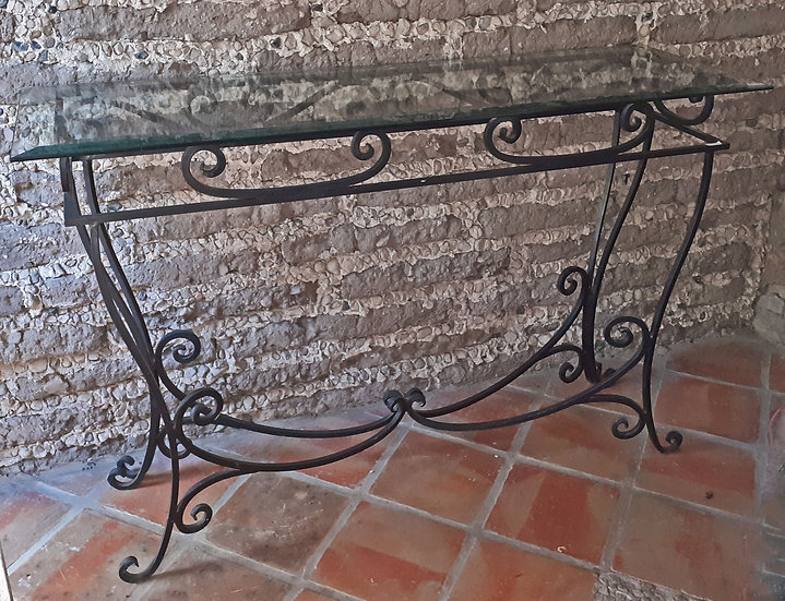 Iron Console Table with Beveled Glass Top