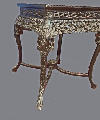 Antique Chinese Square Table,  Heavily Carved