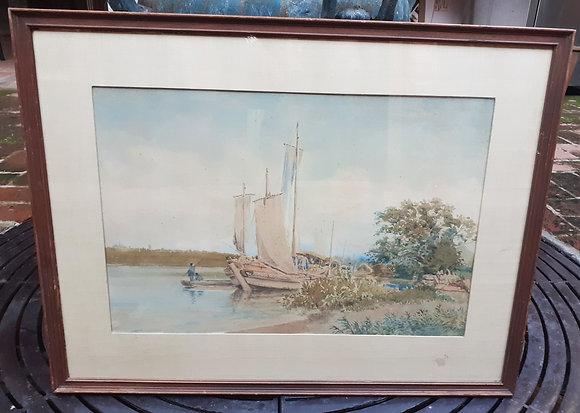 "Charles Wirgman, Jr. 1904 Signed Water Color, Japanese ""Junk"""