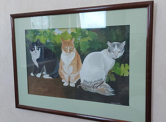"""Original Painting of 3 Cats, Signed , 23"""" wide, 17"""" tall"""