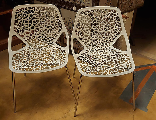 Contemporary Style Side Chairs, Molded Plastic, Chrome Legs