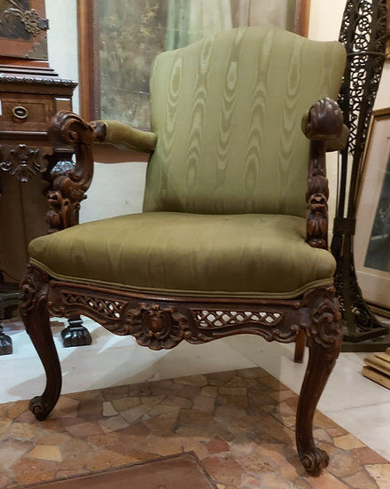 moire-silk-arm-chair-antique-hand-carved-frame