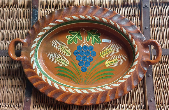 Vintage Tlaquepaque Pottery Serving Tray, Wheat & Grapes