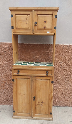 """Kitchen Cabinet, Tile Top,  71"""" tall,   Mexican Rustic, 27"""" wide, 15"""" Deep"""
