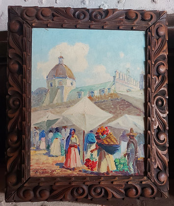 """Sta. Prisca Framed, Mexican Artist """"MAYA"""", 1940's-50's, Taxco, Gro."""