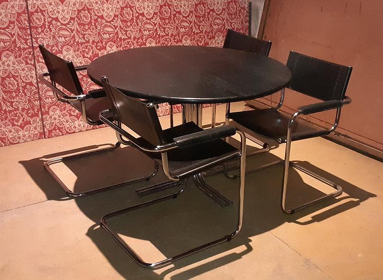 Leather & Chrome Modern Dining Room Set