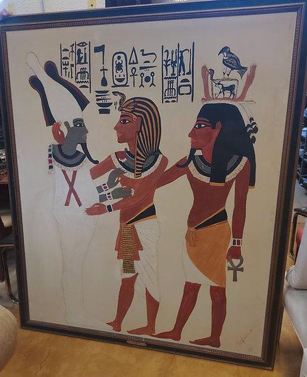 Very Large Artwork by B.J. Vandussen, 1980, Egyptian Figures