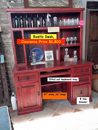 Mexican Rustic Desk, File Drawer, Pull Out Keyboard Tray