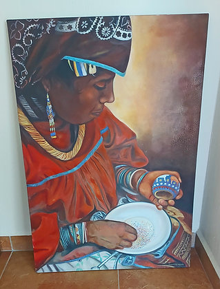 Original Oil by Ricardo H. Salcedo, Signed, Huichol Working w/Beads