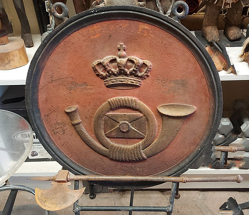 Antique Cast Iron Crest, Double Sided, French Horn Design