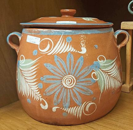 "Vintage Bean Pot, El Palomar, Lead Free, 11"" wide, 10"" tall"