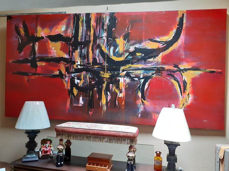 Very Large Original Oil Painting by Botello