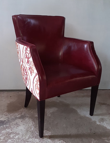 Fine Red Leather Arm Chair, w/Coordinated Fabric Accent