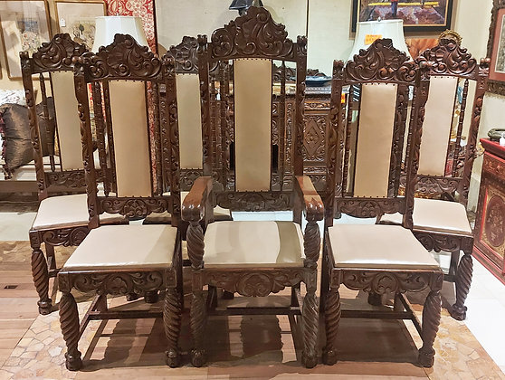 6 Carved Mahogany Dining Chairs,  Mexico 1930's - 50% OFF