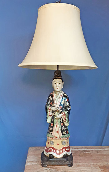 "Chinese Porcelain Figural Table Lamp,  33"" tall"