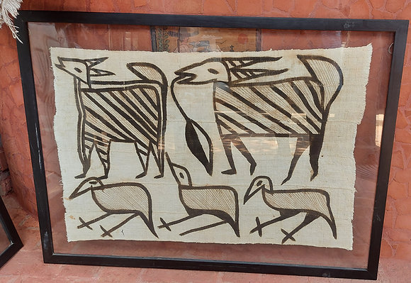 African Paintings on Hand Made Cloth, Birds and Antelope