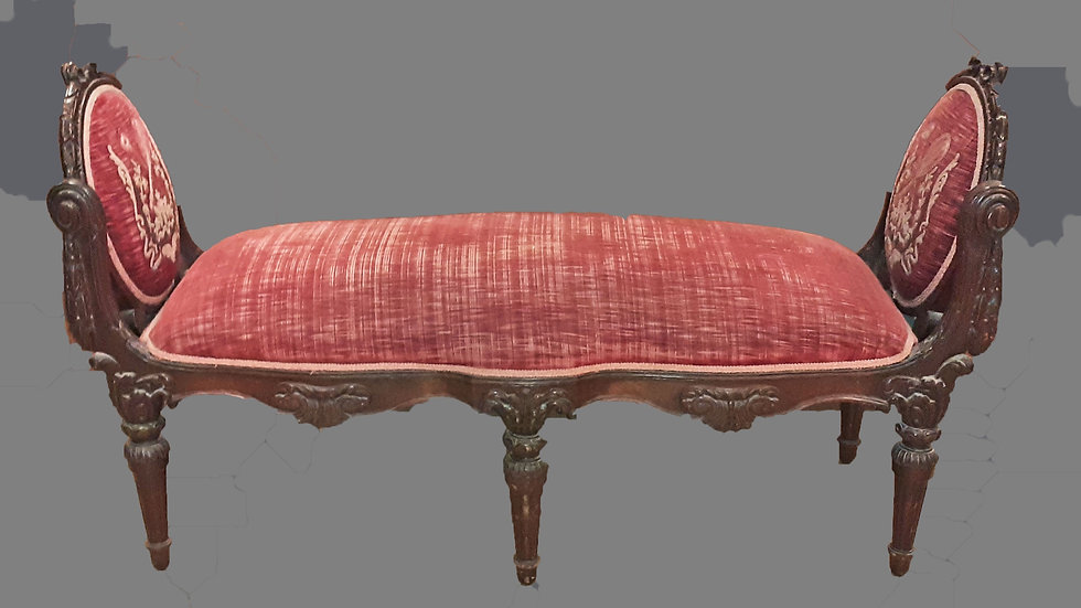 Victorian Slipper Bench, Antique Velvet and Embroidered Design