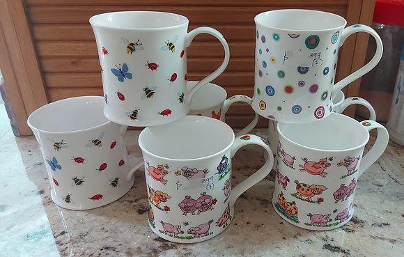 7 Dunoon Bone China Cups, (Mugs,) Made in England.