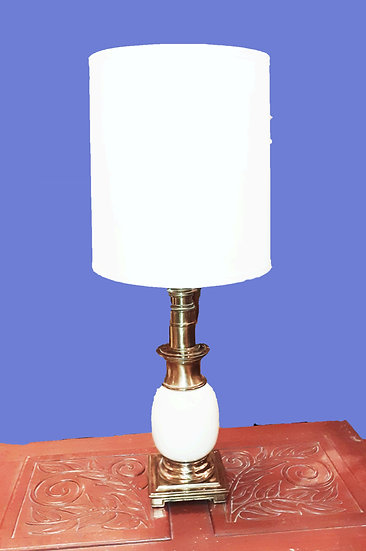 1960's Stiffel Table Lamp, White Ceramic and Brass
