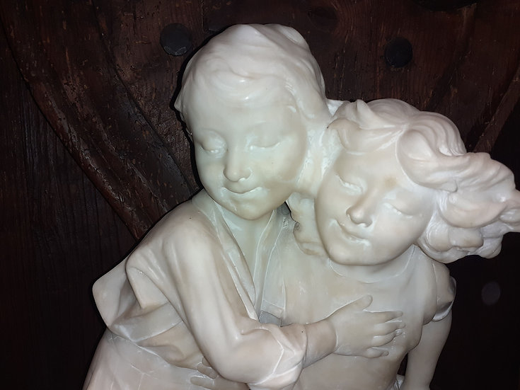 Alabaster Carving of a Young Children, Italy; Francois Carli