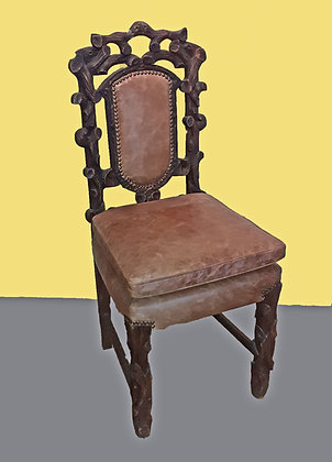 Antique Black Forest Side Chair, New Leather Upholstery