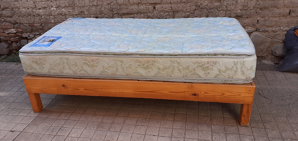 Twin Size Mattress and Wooden Base