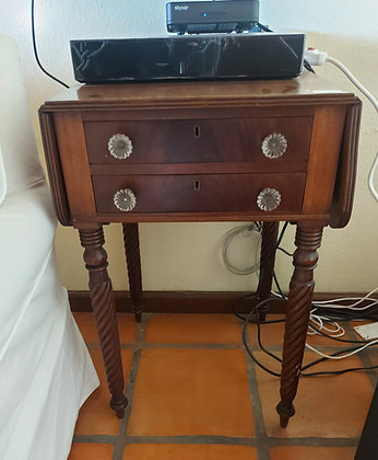 """Antique Empire Period Sewing Table, 33 1/2"""" wide (wings up)"""