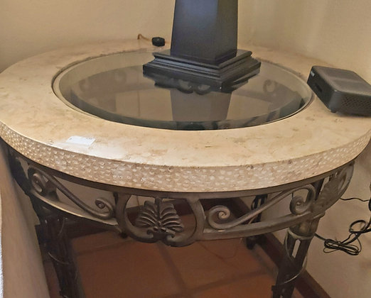 """Lamp Table, Iron Frame, Marble Top w/Beveled Glass, 26"""" tall"""