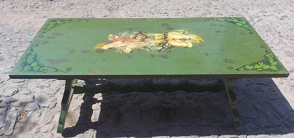Colonial Style Mexican Trestle Table, Hand Painted Design -50% OFF